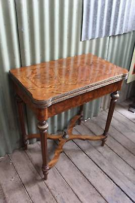 A Stunning Vintage Fold Over Games Table with Inlay & Leather Inset - Hall Table