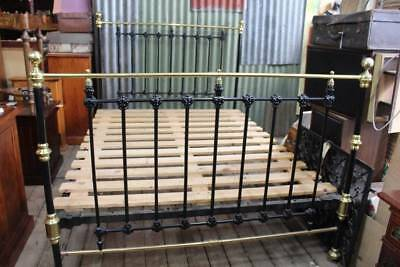 An Antique Victorian Cast Iron & Brass Queen Size Bed with Base