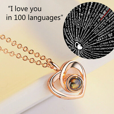 I LOVE YOU in 100 languages 925 Silver Gold Pendant Necklace For Memory of LOVE