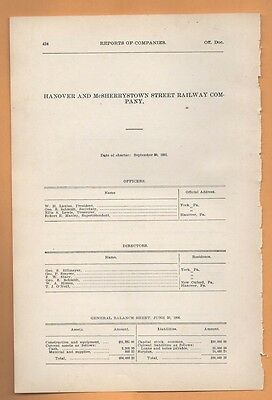 RARE 1906 train report HANOVER & MCSHERRYSTOWN RAILWAY York PA cable car trolley