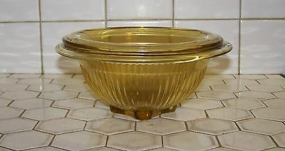 2 Amber Federal Depression Glass Stacking Mixing Bowls.