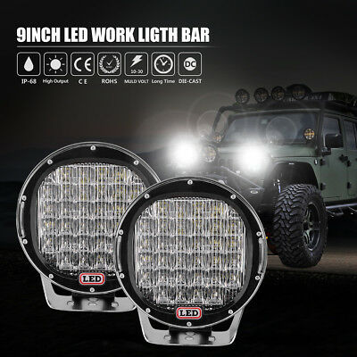 Pair 9inch 99999W CREE LED Driving Light Round Spotlight Combo Offroad SUV Lamp