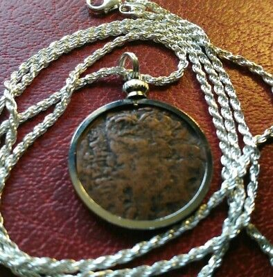 "Ancient Byzantine Empire Bronze coin pendant on a 28"" Italian Silver Rope Chain."