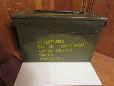 US Army Ammo Can 12x7x6 Metal Storage Box M15A2 Military Hunting Camping 50 Cal.