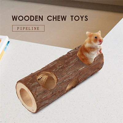 Natural Wooden Tunnel Pet Hamster Mouse Gerbils Rodents Wood Tube Cage Chew Toy