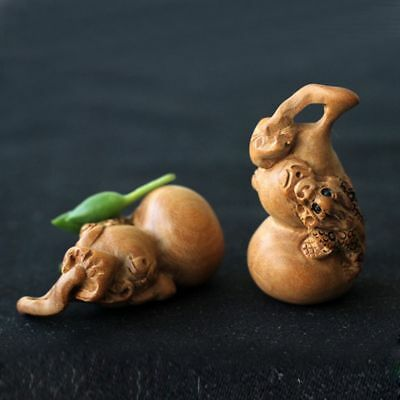Fashion Wood Carved Gourd Handmade Craft Charm Decor Home Miniature Ornaments