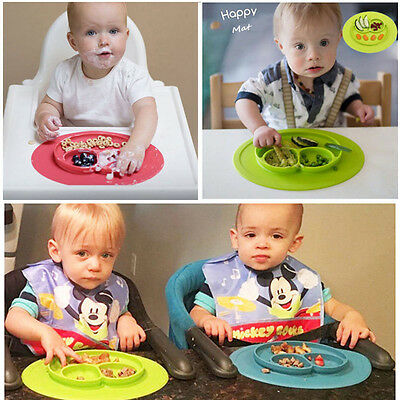 Cute Silicone Happy Mat Baby Kids Suction Table Food Tray Placemat Plate Bowl DH