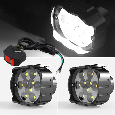 12-85V LED Spot Light  Motorcycle Headlight Driving Fog Lamp Work Light + Switch