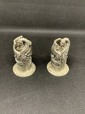 New Age Wiccan Vintage Pewter Dragon Candleholders Candle Holders  - 1960- 1970