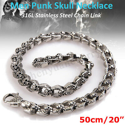"""Vintage Stainless Steel Gothic Skull Chain Link Men Necklace Heavy Punk 20"""" New"""