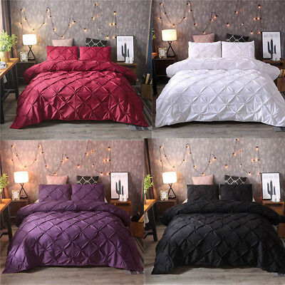 Luxury Pinch Pleat Duvet Cover Sets Queen Soft Solid Bedding Sets Pillowcase