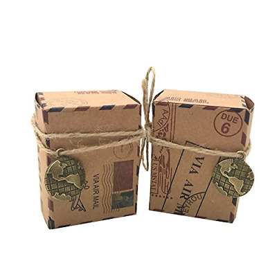Amajoy 50pcs Vintage Inspired Airmail Favor Box Bonbonniere Kraft Paper Boxes or