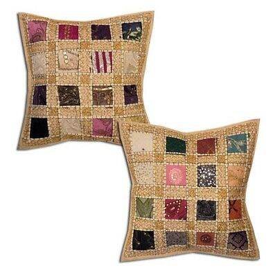 """16""""-2 Beige Antique Sari Sequin Bead Boho Hand Embroidered Cushion Pillow Covers"""
