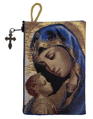 Intercession Hand-Woven, Lined Madonna and Child Rosary Pouch, Made in Turkey -