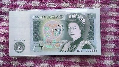 Old Green One Pound Note  Isaac Newton on back with clear case