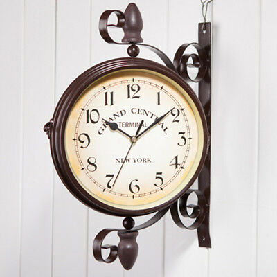Retro Vintage Wall Clock Garden Hallway Double Sided Outdoor Station Wall Mount