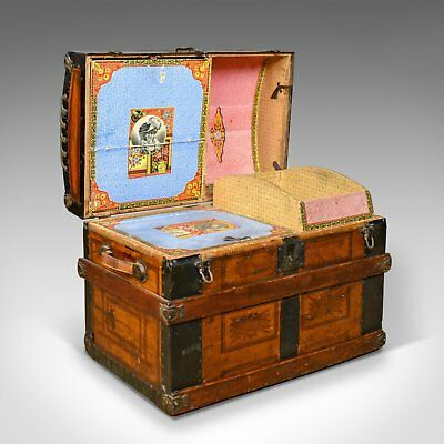 Antique Dome Topped Carriage Chest, English, Victorian, Trunk, 19th Century