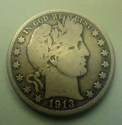 1913 S 50C Barber Half Dollar 90% Silver Coin BH110 OLD TUCK FREE SHIPPING
