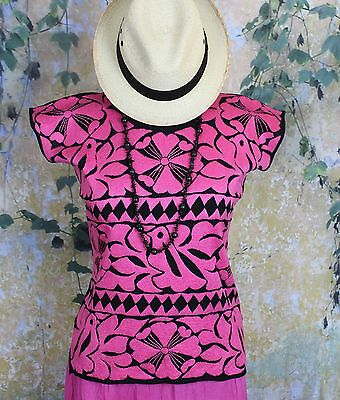 Hand Embroidered Pink & Black Huipil Jalapa Oaxaca Mexico Hippie Cowgirl Boho