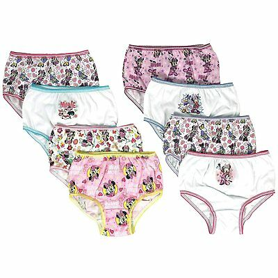 Minnie Mouse Girls Panties 8-Pack Sizes 2T/3T, 4T, 4, 6, 8