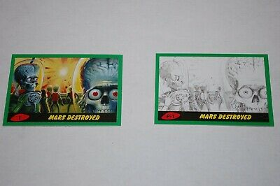 Mars Attacks The Revenge-Green Parallel Complete Set 110 Cards-Topps 2017