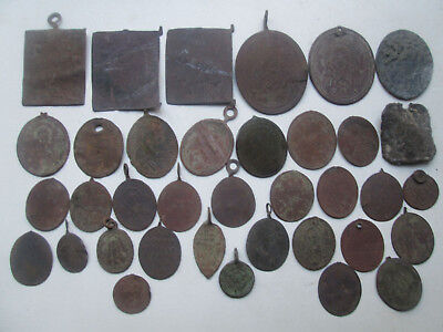 Metal detector finds.Mix lot  ancient pendant icon (19th century) 36 pieces. N47