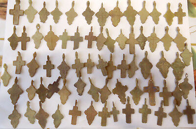 Metal detector finds.Mix lot  ancient crosses (The age of 17-19)70 pieces. N48