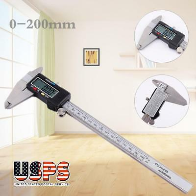 """Stainless Steel Electronic Digital Vernier Caliper Micrometer Guage LCD 200mm 8"""""""