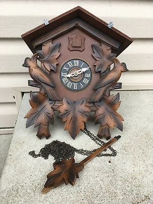 Vintage Kuner Cuckoo Clock For Parts Repair With Paper Tag Scarce Use No Weights