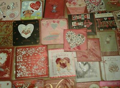 50 Top Valentines Cards, Wholesale Joblot Greeting Cards