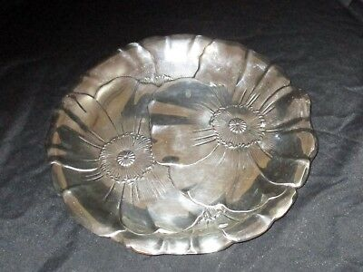 "Antique Wallace Sterling Silver Poppy 123 10""  Round Tray"