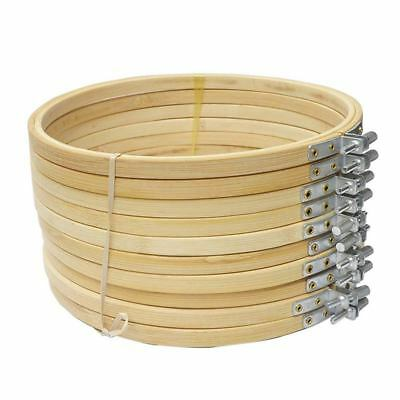 10 Pieces 6.7inch 17cm Round Wooden Embroidery Hoops Set Bulk WholeAdjustab I5O7