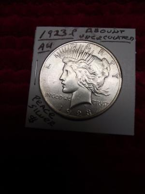 1923-P (AU) Peace Silver Dollar,ABOUT UNCIRCULATED!, Nice Mint Luster!