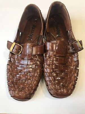 a8eab201faf7e SUNSTEPS MEN'S BROWN Leather Handwoven Huaraches Sandals Shoes Size 9.5