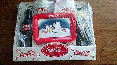 Coca Cola vintage collectable Christmas gift set 1997 Bottles plate glasses