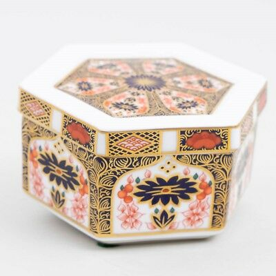 "Royal Crown Derby Old Imari Bone China 4-3/8"" Hexagon Trinket Box with Lid 1128"