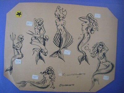 Parlor-Used Tattoo Flash ' MERMAIDS ' .....# 24...14'' X 10.5 '' IN.