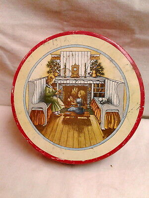 Christmas Round Cookie Tin Fireside Holiday Scene with Children Vintage