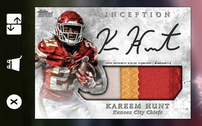 18-19 INCEPTION SILVER SIGNATURE RELIC KAREEM HUNT Topps Huddle Digital Card