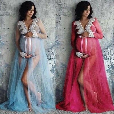Hot Pregnant Women Lace Maxi Dress Maternity Gown Photography Props Dress