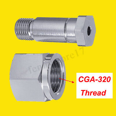 Stainless Steel CGA 320 CO2 Regulator Inlet Nut RH Female & 1/4 NPT Nipple 1