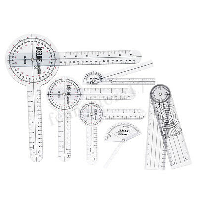 6pcs Medical Spinal Ruler Goniometer Angle Protractor 360 Degree 12/8/6 inch