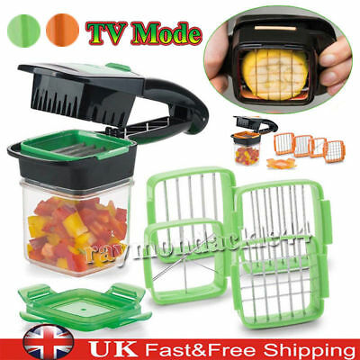5 in 1 Dicer Fruit Vegetable Cutter Nicer Dicer Quick Stainless Steel Chopper UK