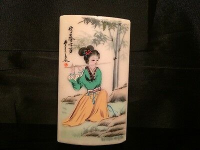 Vintage Chinese Hand Painted on White Marble Stone Paperweight or Plaque