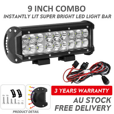 "9 inch CREE LED Light Bar Spot Flood Offroad Truck SUV Driving 4WD 7""+Wiring"