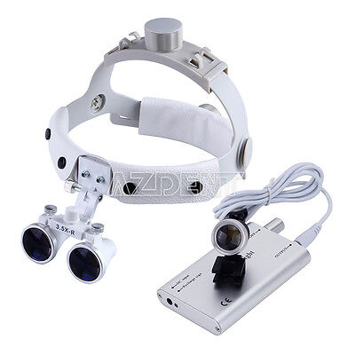 Portable LED Head Light Lamp+Surgical 3.5X Dental Medical Binocular Loupe AZDENT