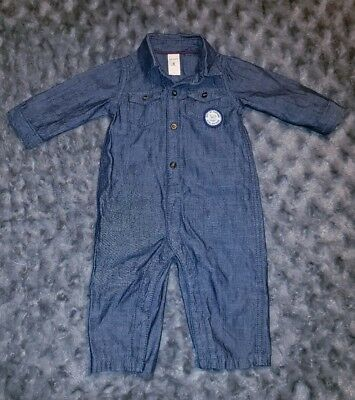 36386bb023fd NWOT Carters Baby Boy Clothes 6 Months One Piece Long Sleeve Chambray Romper