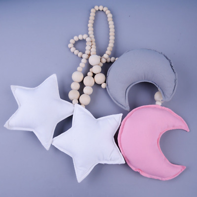 Nordic Star Moon Wooden Beads Pendant Decor Hanging Ornament Nursery Kids Room