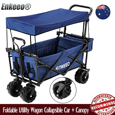 220IB Foldable Utility Wagon Collapsible Sports Outdoor Cart Camping Beach AU