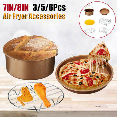 "7""-8"" 3/5/6Pcs Air Fryer Accessories Healthy Airfryer Baking Set Cake Pizza Pan"